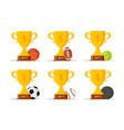 set golden trophy cup with balls winner cup vector image vector image