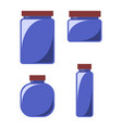 set of 4 glass jars for kitchen with red lids vector image vector image