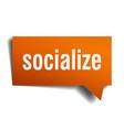 socialize orange 3d speech bubble vector image vector image