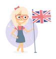 study english language girl holding a flag vector image vector image