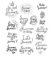 summer lettering and symbols vector image vector image