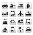 transport travel buttons set isolated vector image vector image
