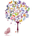 tree of butterflies vector image