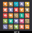 Trendy Icons With Long Shadow Set 10 vector image