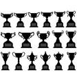 trophy cup silhouette black set a set vector image