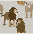 two lions and lioness on grey background seamless vector image vector image