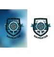 Vintage marine navigator label or emblem vector image vector image