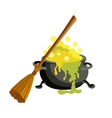 Witch bucket of boiling green liquid magic and vector image