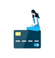 woman sit on credit card shopping online payment vector image vector image