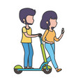 young man riding elecric scooter and woman with vector image