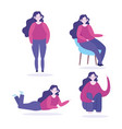 young woman character making different activities vector image vector image