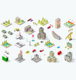 isometric city building set vector image