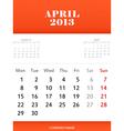 April 2013 calendar design vector image vector image