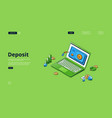 banner deposit money safe box vector image vector image