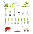 big collection various gardening hand tools vector image vector image