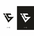 black and white is initial letter vector image vector image