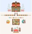 Bookstore set with Exterior Interior Elements vector image vector image