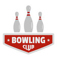 bowling sport logo flat style vector image vector image