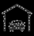 bright mesh network car garage with flare spots vector image vector image