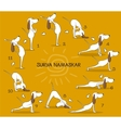 Cartoon positive dog doing yoga position of Surya vector image