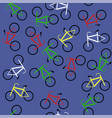 colored bicycles silhouettes seamless pattern vector image