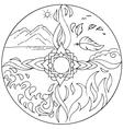 Coloring 4 elements Mandala Diksha vector image vector image