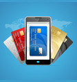 concept of phone pay with credit plastic card vector image vector image