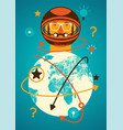 concept vintage grunge poster with a spaceman vector image