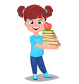 cute girl in casual clothes holding a stack of vector image vector image