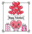 cute heart with balloons and presents gifts vector image vector image