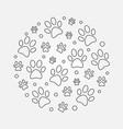 dog footprints round outline vector image