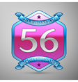 Fifty six years anniversary celebration silver vector image vector image