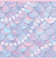 fish scales and pearls seamless pattern mermaid vector image vector image