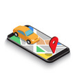 flat 3d isometric car use gps map navigation vector image