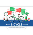 flat bicycle elements composition vector image vector image