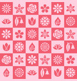 Flowers seamless pattern with flat glyph icons