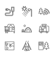 Forest camping black flat line icons vector image