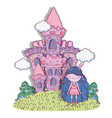 girl fantastic creature with castle and bushes vector image vector image