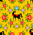 Gorodets painting Black horse and floral seamless vector image