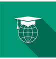 graduation cap on globe icon with long shadow vector image vector image