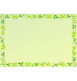 green background with decorative frame of leaves vector image vector image