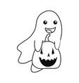 happy halloween ghost and pumpkin vector image