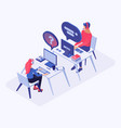 hotline office workers isometric vector image vector image
