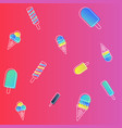 ice cream pattern colorful cartoon vector image