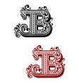 Letter B with calligraphic swirls and dot ornament vector image vector image
