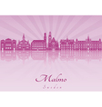 Malmo skyline in purple radiant orchid vector image vector image
