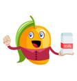 mango holding milk on white background vector image vector image
