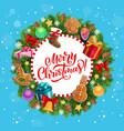 merry christmas greeting xmas tree wreath vector image