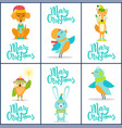 merry christmas set of bright festive postcards vector image vector image