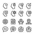 mind and brain line icon set vector image